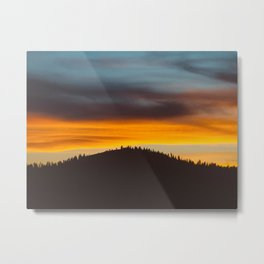 Mountain Hill With Trees Orange And Blue Sunset Clouds Metal Print