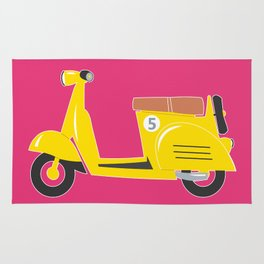 Retro yellow scooter - purple background Rug
