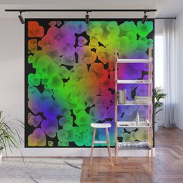 Neon intersecting green hearts on a sparkling background. Wall Mural