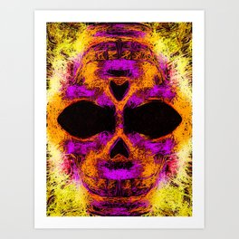 psychedelic angry skull portrait in pink orange yellow Art Print