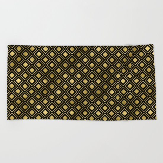 Black and gold geometric abstract pattern I- Luxury design for your home Beach Towel