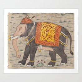 Vintage Decorated Elephant Painting (17th Century) Art Print