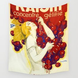 Vintage 1920 French Art Deco Grape Jelly Advertisement Poster 'Raisin - Concentre Gelifie' by Villa Wall Tapestry