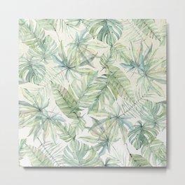 Green Tropical Leaves Metal Print