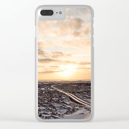 Snaefellsnes- Snowy Road Clear iPhone Case
