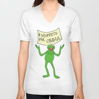 muppets V-neck T-shirts featuring Muppets for Obama by Illustrated by Jenny