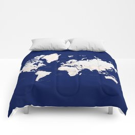 """Navy blue and light brown detailed world map """"Gavin"""" Comforters"""