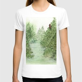 Pine Trees Christmas Forest Landscape Watercolor T-shirt