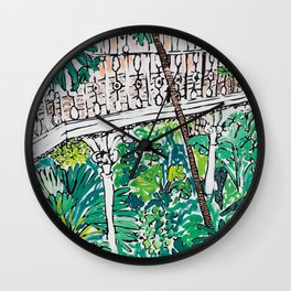 Kew Gardens Jungle Botanical Painting Greenhouse Wall Clock
