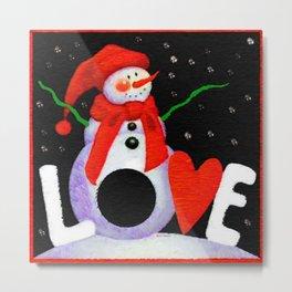 Snowman Love Metal Print