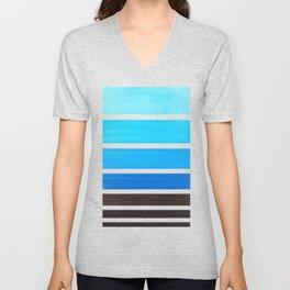 Cerulean Blue Minimalist Watercolor Mid Century Staggered Stripes Rothko Color Block Geometric Art Unisex V-Neck