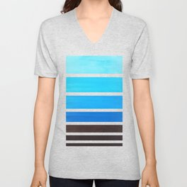 Cerulean Blue Minimalist Watercolor Mid Century Staggered Stripes Rothko Color Block Geometric Art Unisex V-Neck