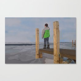 Icy Waters of Lake St. Clair, Harrison Twp., MI Canvas Print