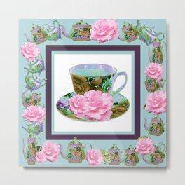ABSTRACTED PINK ROSE TEA TIME BLUE PORCELAIN ART Metal Print