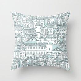 Bath toile pine mint Throw Pillow