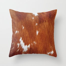 Tan Cowhide Smooth Texture Throw Pillow
