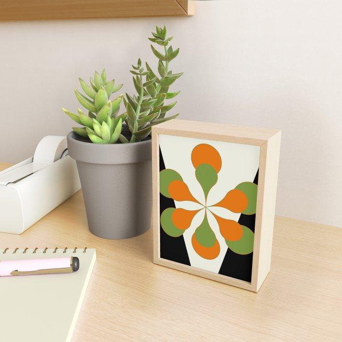 Mid-Century Modern Art 1.4 - Green & Orange Flower Framed Mini Art Print