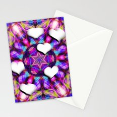 Floating hearts on abstract vibrant kaleidoscope Stationery Cards