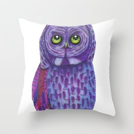 The Great Gray Purple Owl, A Key Holder And Protector Of The Mice Kingdom Throw Pillow