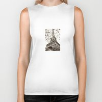 eiffel tower Biker Tanks featuring Eiffel Tower by Linde Townsend