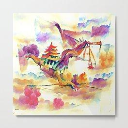 Crane Fighting Dragon in the East Metal Print