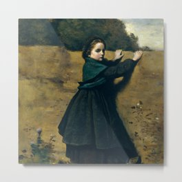 """Jean-Baptiste-Camille Corot """"The Curious Little Girl"""" Metal Print"""