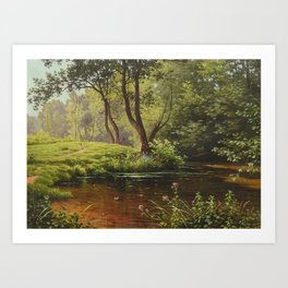River and Summer Flowers along the forest path flora and fauna oil on canvas river landscape painting by René Charles Edmond His Art Print