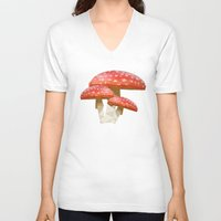 low poly V-neck T-shirts featuring Low Poly Mushroom by Makar Deku