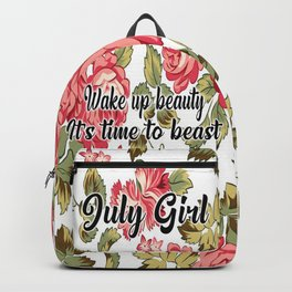 July girl red flower wake up beauty Backpack