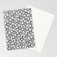 Floral White & Black Pattern Stationery Cards
