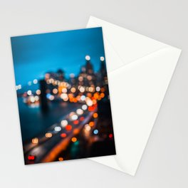 Bokeh view of Downtown Manhattan Stationery Cards