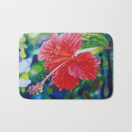 Tropical Hibiscus Bath Mat