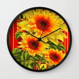 GOLDEN YELLOW KANSAS SUNFLOWERS RED ART Wall Clock