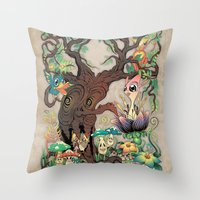 jungle Throw Pillows featuring JUNGLE by GEEKY CREATOR