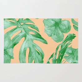 Tropical Monstera Hibiscus Botanical Pattern Green Coral Peach Rug