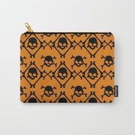Halloween orange black geometrical skull bones pattern Carry-All Pouch