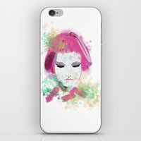 water colour iPhone & iPod Skins featuring water colour lady by rebeccalbe