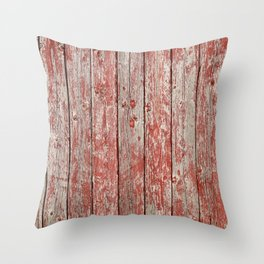 Rustic red wood Throw Pillow