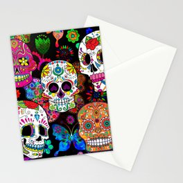 Rocking Color Sugar Skull Day Of The Dead Stationery Cards