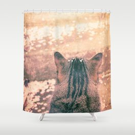 Kitty Cat and Spring Falling Cherry Blossom Petals Shower Curtain