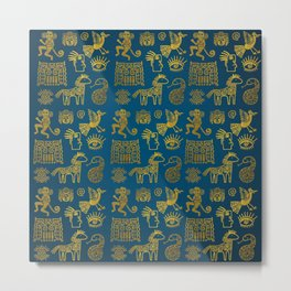 Aztec ancient animal gold symbols on teal Metal Print