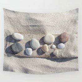 Beach pebble driftwood still life Wall Tapestry