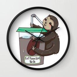 Caffeinated Sloth I Love Coffee & Sloths Wall Clock
