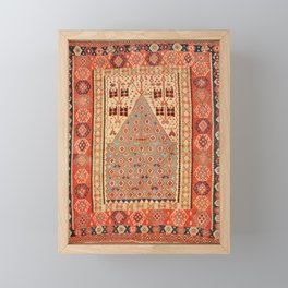 Antique Erzurum Turkish Kilim Rug Print Framed Mini Art Print
