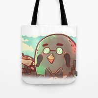 animal crossing Tote Bags featuring Animal Crossing Brewster! by SweetOwls