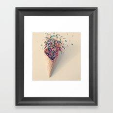 Ice Cream Sprinkle Waffle Cone Framed Art Print