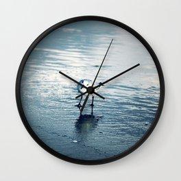 Greetings, Earthling, Blue wash beach, sea birds, wet sand Wall Clock