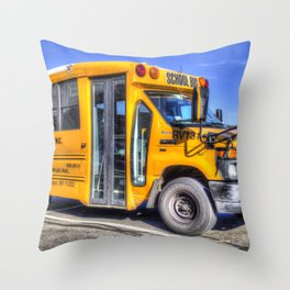 American School Bus Throw Pillow