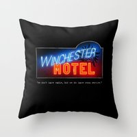 winchester Throw Pillows featuring Winchester Hotel by quickreaver
