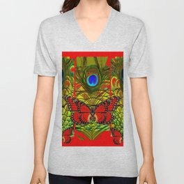 RED MONARCH BUTTERFLIES LIME COLOR PEACOCK ART Unisex V-Neck